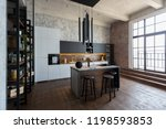 luxury studio apartment with a... | Shutterstock . vector #1198593853