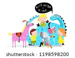 reading book dragon to kids.... | Shutterstock .eps vector #1198598200