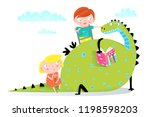 dragon reading book to boy and... | Shutterstock .eps vector #1198598203