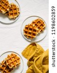 belgian waffles background.... | Shutterstock . vector #1198602859