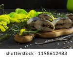 marinated fish on a wooden... | Shutterstock . vector #1198612483