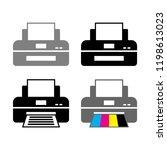 printer vector icons on white...   Shutterstock .eps vector #1198613023
