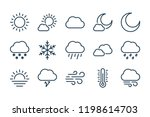 weather related line icon set.... | Shutterstock .eps vector #1198614703
