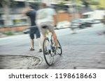 cyclist hit walker dangerous... | Shutterstock . vector #1198618663
