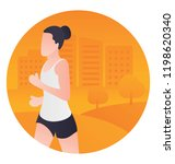a running girl is showing the... | Shutterstock .eps vector #1198620340