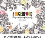 poster with finger food... | Shutterstock .eps vector #1198620976