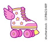 cute pink girly roller skates... | Shutterstock .eps vector #1198621489