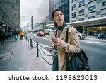 elegant female traveler...   Shutterstock . vector #1198623013