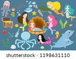 cute little mermaid with sea... | Shutterstock .eps vector #1198631110