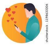 a happy man sending love...   Shutterstock .eps vector #1198633306