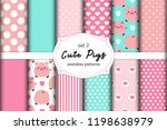 cute set of pigs seamless... | Shutterstock .eps vector #1198638979