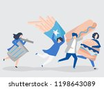 junk food being chased by a... | Shutterstock .eps vector #1198643089