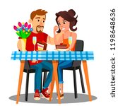 romantic dinner for a young... | Shutterstock .eps vector #1198648636
