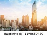 bangkok city with sunlight in... | Shutterstock . vector #1198650430