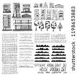 set of vector house doodle... | Shutterstock .eps vector #1198653883