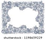 vintage lineart floral frame in ... | Shutterstock . vector #1198659229