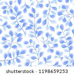 blue watercolor style leaves in ... | Shutterstock . vector #1198659253