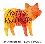 orange watercolor style pig... | Shutterstock . vector #1198659313
