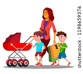mother walking with a baby... | Shutterstock . vector #1198659376