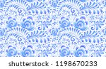 blue floral motif in russian... | Shutterstock . vector #1198670233