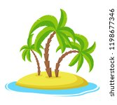 island with palm trees isolaed... | Shutterstock .eps vector #1198677346