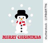 winter cartoon cute snowman...   Shutterstock .eps vector #1198689796