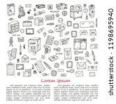 post office doodle  card... | Shutterstock .eps vector #1198695940