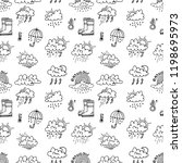 seamless pattern with cute hand ... | Shutterstock .eps vector #1198695973