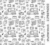 post office doodle seamless... | Shutterstock .eps vector #1198696003