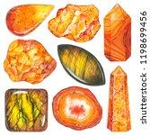 orange set of watercolor gems.... | Shutterstock . vector #1198699456