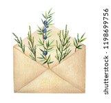 watercolor postal envelope with ... | Shutterstock . vector #1198699756