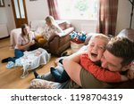 family with two children and... | Shutterstock . vector #1198704319