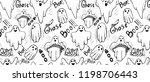 pattern with whisper ghost hand ... | Shutterstock .eps vector #1198706443