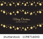 christmas golden decoration on... | Shutterstock .eps vector #1198716043