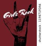 girls rock. vector hand drawn...   Shutterstock .eps vector #1198719346