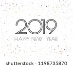 happy new 2019 year. greetings... | Shutterstock .eps vector #1198735870