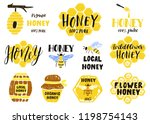 set of honey labels  badges and ... | Shutterstock .eps vector #1198754143
