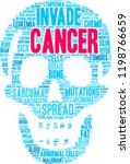 cancer word cloud on a white... | Shutterstock .eps vector #1198766659