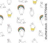 cute lama  doodle vector... | Shutterstock .eps vector #1198770646