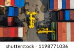 container ship in export and... | Shutterstock . vector #1198771036
