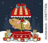 christmas pig on a winter... | Shutterstock .eps vector #1198777456