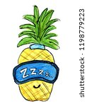 yellow pineapple sleep mask on...   Shutterstock . vector #1198779223