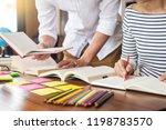 young students classmates help... | Shutterstock . vector #1198783570