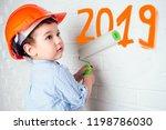 charming cute little builder... | Shutterstock . vector #1198786030