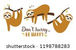 set of cute cartoon sloth... | Shutterstock .eps vector #1198788283
