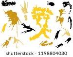 hand drawn set of golden ink...   Shutterstock .eps vector #1198804030