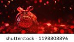 red christmas ball with ribbon... | Shutterstock . vector #1198808896