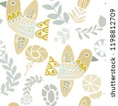 vector pastel folkloric birds... | Shutterstock .eps vector #1198812709