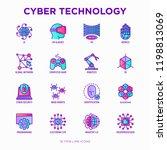 cyber technology thin line... | Shutterstock .eps vector #1198813069