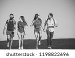four happy friends on mountains ... | Shutterstock . vector #1198822696
